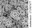 Lace seamless pattern with flowers - fabric background. Raster version - stock photo