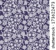 Lace seamless pattern with flowers on navy background. raster version - stock photo