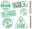 Lactose free food. Rubber stamp illustrations - stock vector