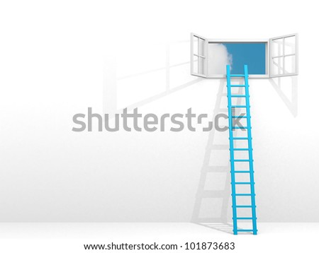 Ladder leading to sky - rendered in 3d