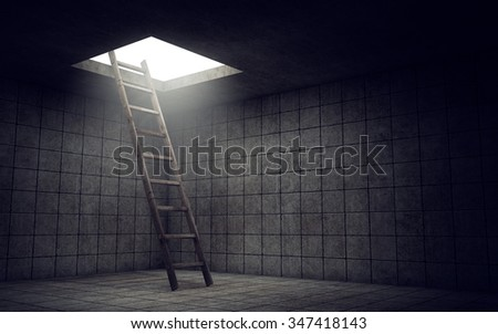Ladder to freedom from dirty room. 3d rendering