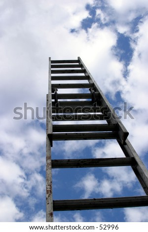 ladder to success, extention ladder extened to the sky