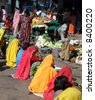 Ladies at a fruit and vegetable market at Pushkar, India - stock photo