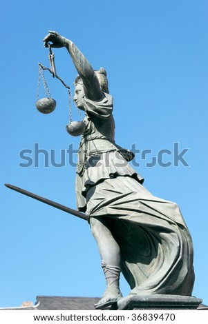 Lady Justice stature in Frankfurt.