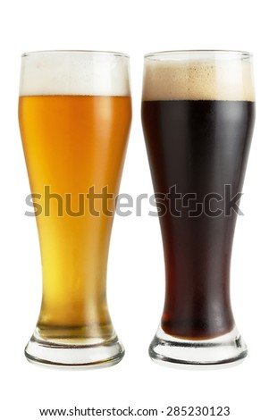 Lager and dark beer isolated on white