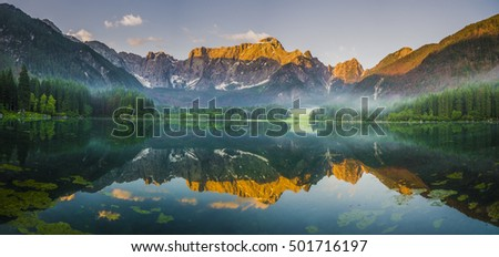 laghi di fusine-mountain lake in the Italian Alps