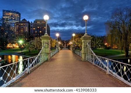 Lagoon bridge at night in Boston Public Garden