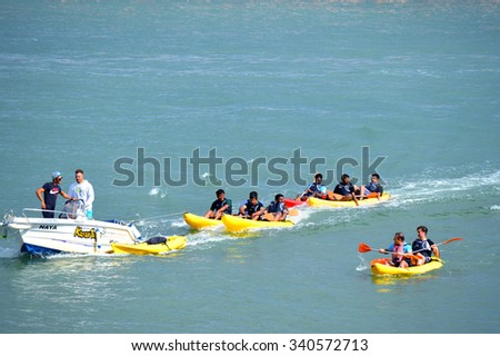 Lagos, Algarve, Portugal - October 28, 2015: Kayak tours on the Bensafrim river in Lagos harbour