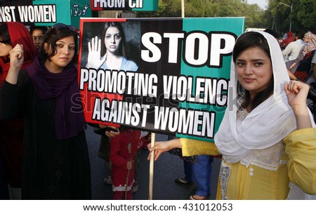 LAHORE, PAKISTAN - JUN 03: Women activists of Peoples Party (PPP) are protesting against violence against women, during demonstration on June 03, 2016 in Lahore.