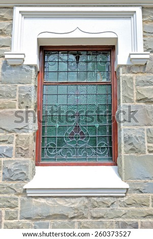 LAINGSBURG, SOUTH AFRICA - DECEMBER 1, 2014: Window of the Dutch Reformed Church in Laingsburg in the Western Cape Province of South Africa