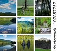 Lake and forest hiking trail collage with nine photos, rattlesnake lake - stock photo