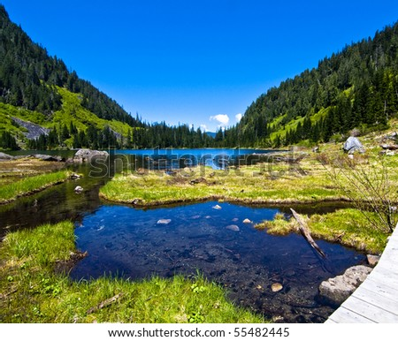 Lake 22 is an alpine lake in western Washington. It is a beautiful hike with views of far off snow covered mountain peaks and green hills.