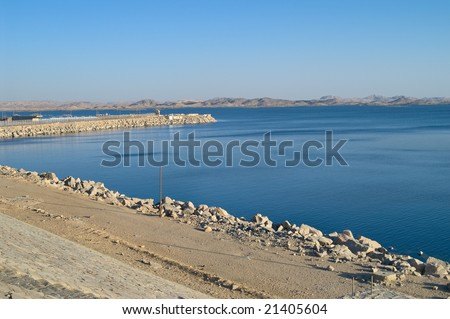 Lake Nasser, artificial water storage, view from Aswan Dam, Egypt