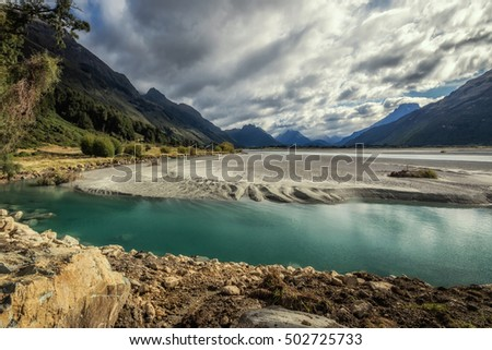 Lake Wakatipu between Queentown and Glenorchy in the South Island of New Zealand.