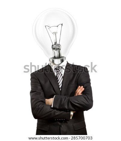 lamp head businessman in suit with crossed hands