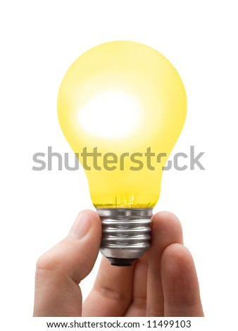 Lamp in hand, isolated on white background