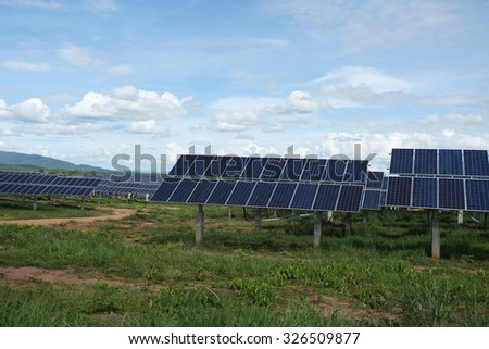 LAMPANG - THAILAND - OCTOBER 9 : Landscape of solar farm at Hangchat solar farm on Oct 9, 2015 in Lampang province, Thailand