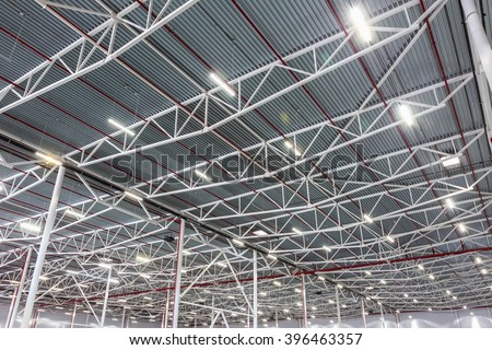 lamps with diode lighting in a modern warehouse