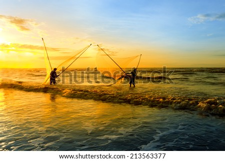 Landscape beautiful. Shadow fishermen in the early morning.