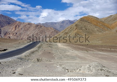 Landscape between Lamayuru and Leh in Ladakh, India