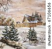 Landscape, house in forest. Drawing distemper on a birch bark - stock photo