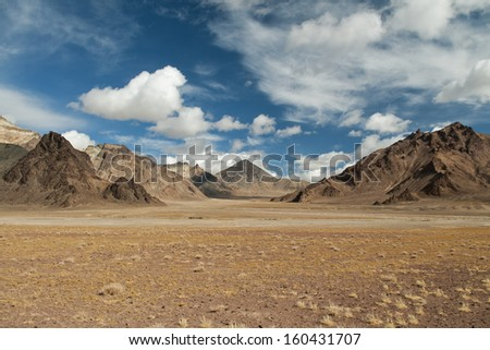 Landscape in altitude, by the Pamirs mountains, Tajikistan