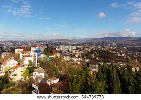 landscape in the city of Sochi and the mountains on the horizon
