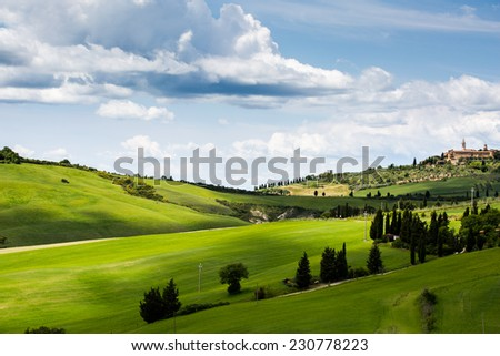 Landscape in Tuscany, green grass and blue sky