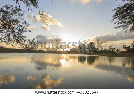 Landscape of beautiful sky and reservoir which has reflection