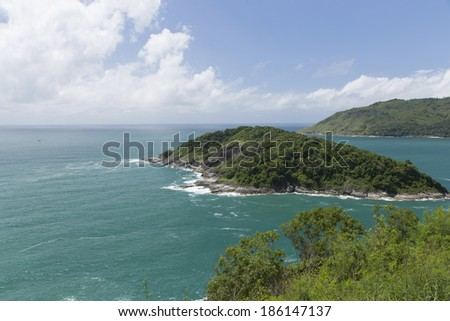 Landscape of Laem Phromthep, one of the most famous view point for sunset in Phuket, Thailand.