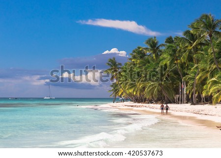 Landscape of paradise tropical island beach with perfect sunny sky.