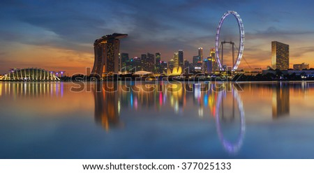 Landscape of the Singapore city financial district