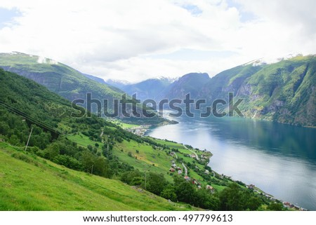 landscape view from the heights along the steep rocky fjord