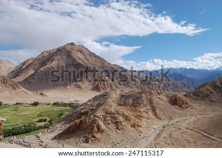 Landscape view of Leh Ladakh, Northern India.