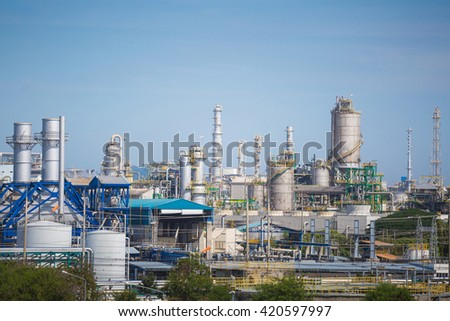 Landscape view of oil refinery industrial plant in daytime