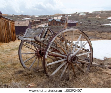 Landscape with old wagon in historical Bodie Ghost Town, California