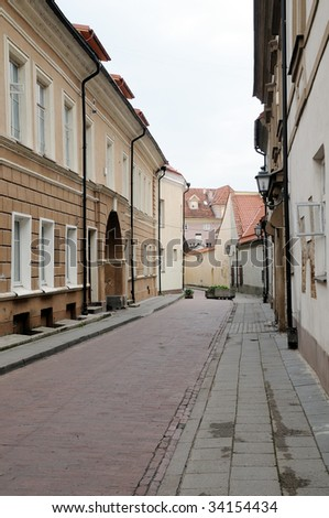 Lane of an old city to Vilnius. Classical architecture. Silence of summer morning