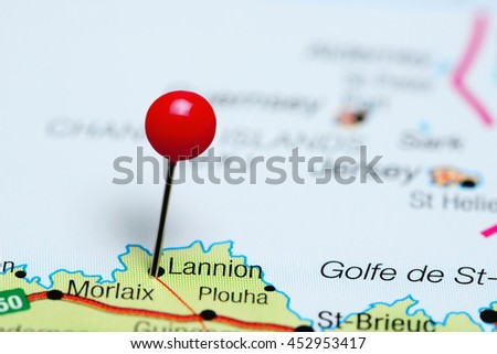 Lannion pinned on a map of France