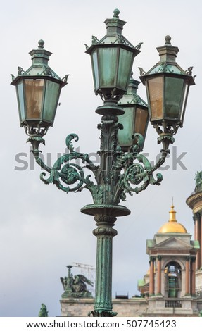 Lantern near monument to Nicholas I in Saint Petersburg, Russia architect Montferrand 1856