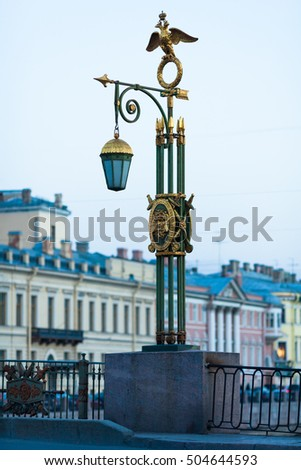Lantern on Panteleymonovsky Bridge across the Fontanka River in Saint Petersburg, Russia