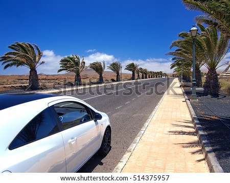 Lanzarote, Spain - MARCH 15, 2015: Modern style car on asphalt road through the palm alley in the southern village. Strong wind, white clouds on a blue sky