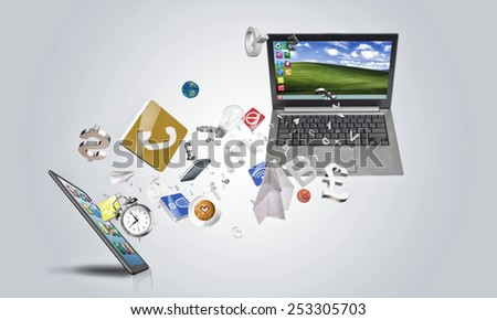 Laptop and mobile smartphone and icons on white background