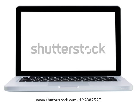 Laptop computer notebook isolation white display on over white background