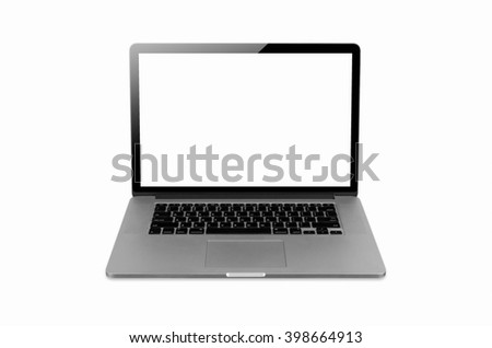 laptop isolated on white with clipping path, Blank white space on the screen.