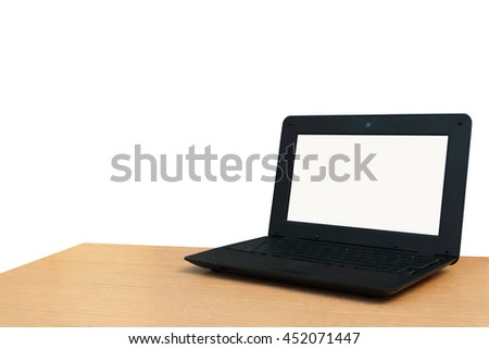 laptop on desk ,isolate white background