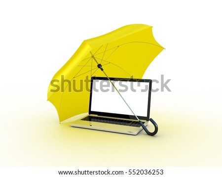 Laptop under an umbrella. 3D illustration