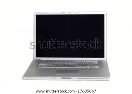 Laptop with a black screen in white background.