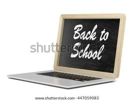 Laptop with chalkboard, back to school, online education concept. 3d rendering.