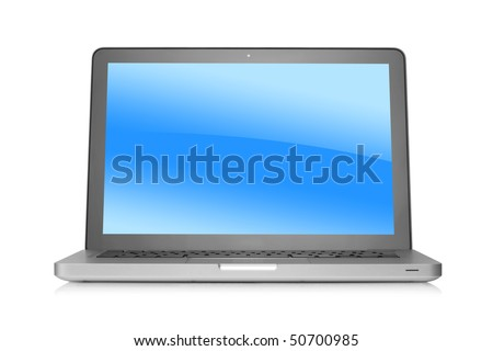 Laptop with gradient background on desktop. Isolated on white background