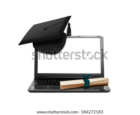 Laptop with Mortarboard and Scroll Education Concept